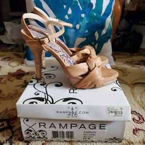Rampage Tan Open Toe Heeled Sandals